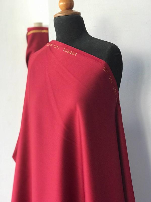Burgundy red  Wool venetian suiting fabric, sateen wool Charmelaine