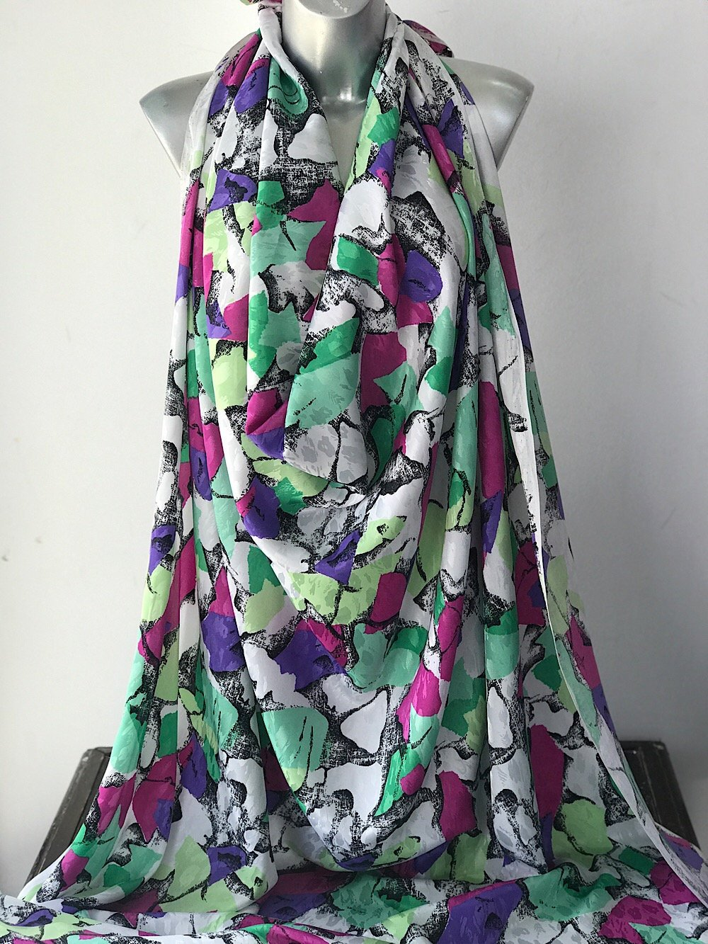 polyester print fabric jacquard base abstract print green purple pink white white 140cm wide