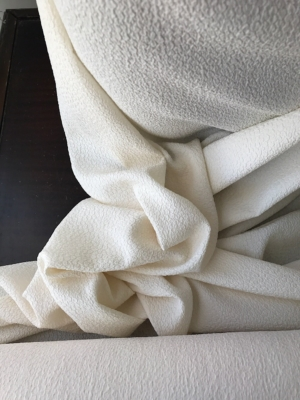 off white ivory pure silk cloqué fabric, 3D crepe , bridal