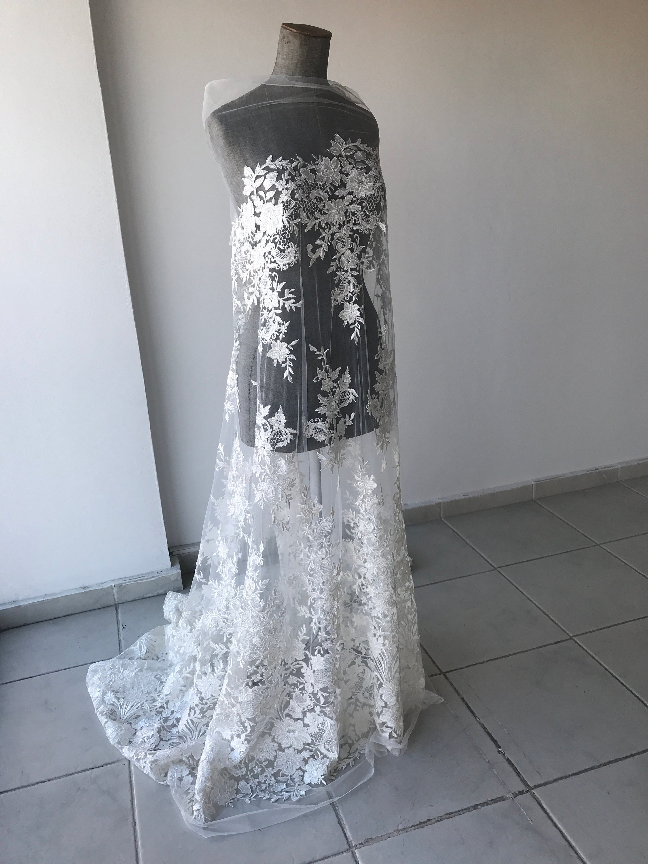 Off White Light Ivory bridal lace fabric corded with sequins floral  wedding dress lace scallop edge