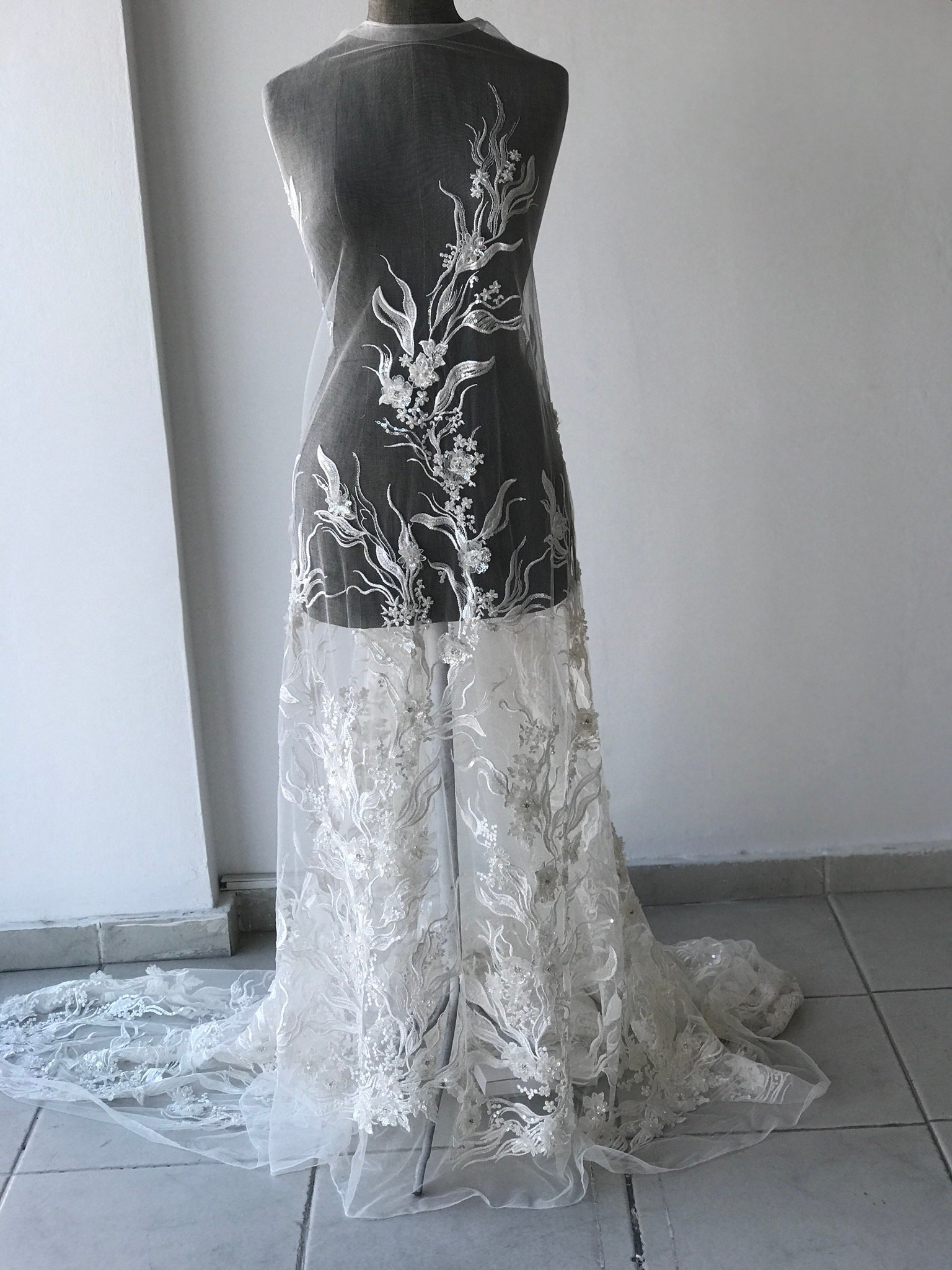 Off White Light Ivory corded  bridal lace fabric embroidered with sequins stones pearls 3D flowers wedding dress lace fabric