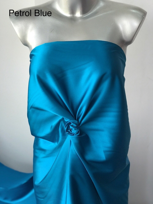 green shiny satin fabric polyester spandex 2 way stretch lining under lace lingerie colour options 150cm wide