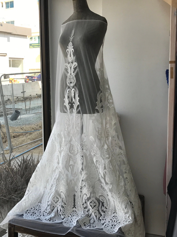 white bridal lace fabric