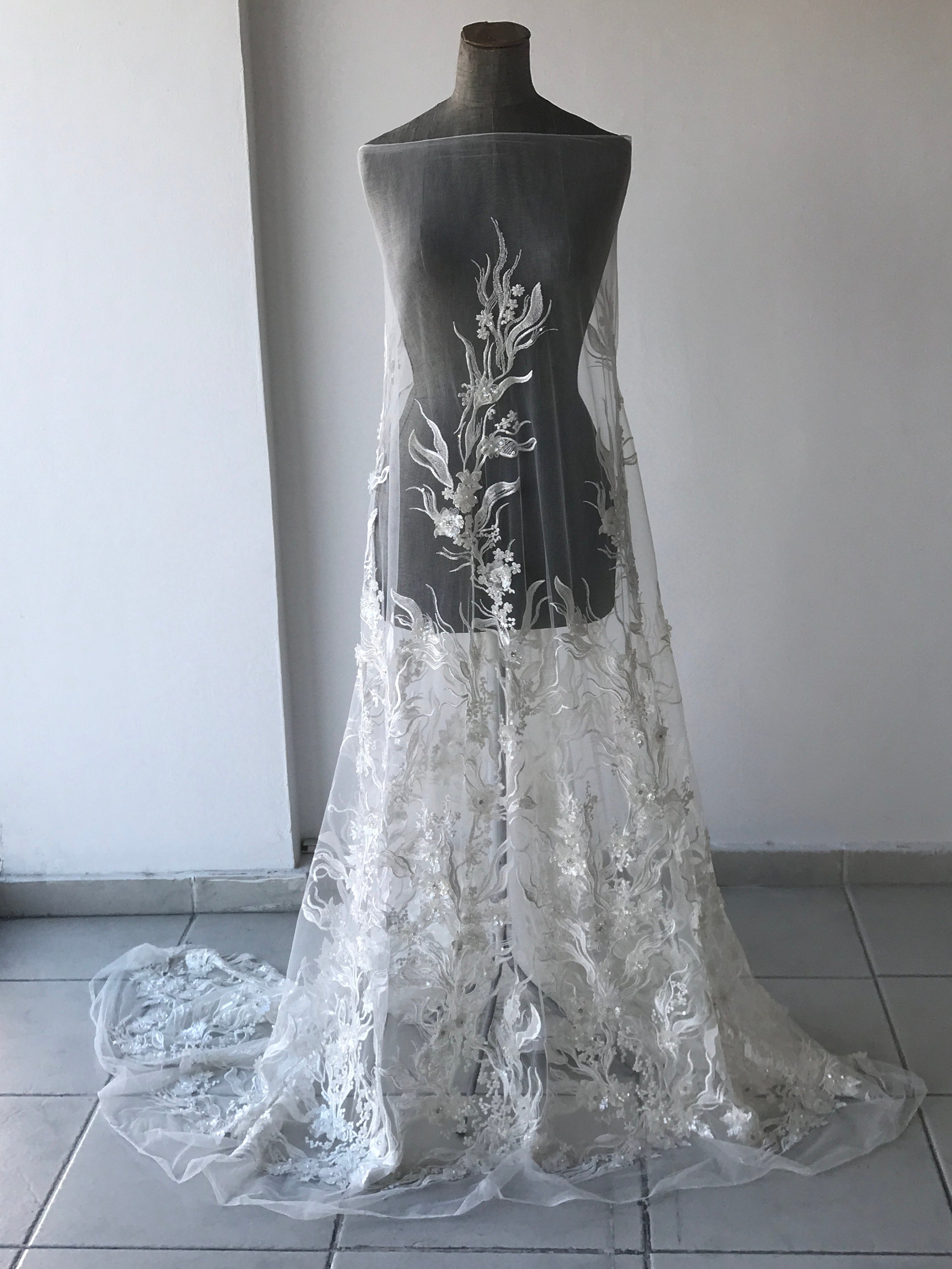 white corded bridal lace