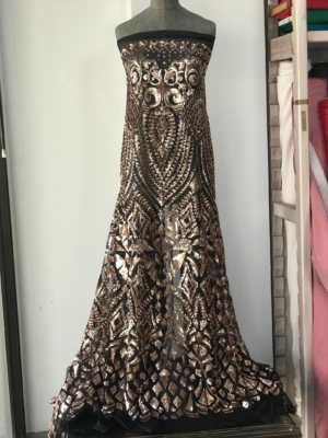 Damask lace rose gold sequins fabric