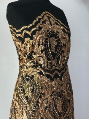 Damask lace, gold on black sequins lace, rose gold sequins on black tulle, Baroque design bridal