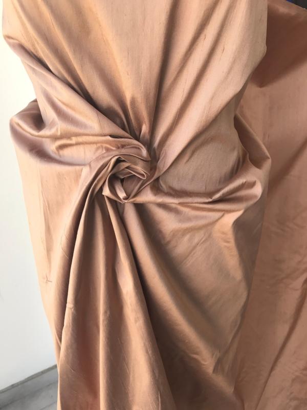 "Light brown taupe 100% dupioni silk fabric yardage By the Yard 54"" wide raw silk Soie Sauvage"