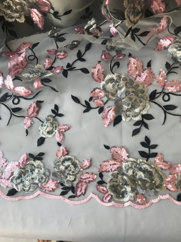 pink on grey sequins lace fabric, roses sequins, mother of bride groom, bridal