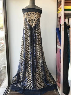 Gold on blue sequins fabric