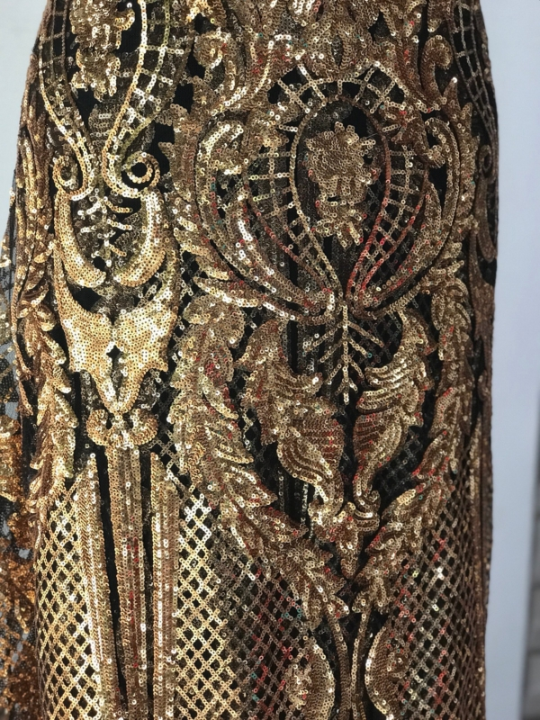 Damask lace, gold on black sequins lace, rose gold sequins on black tulle, Baroque design bridal