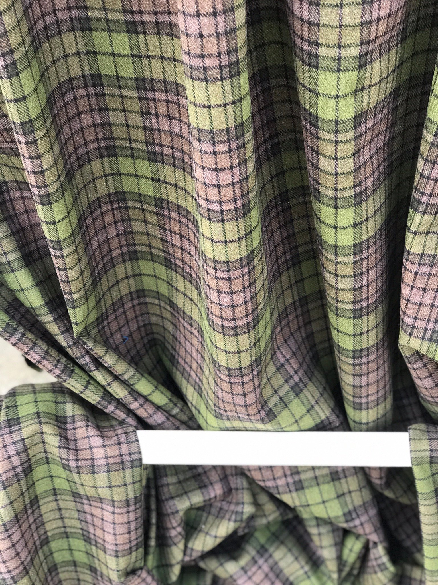 green on brown tartan check fabric, acrylic, 150cm 60 inches wide suiting, pants skirt fabric, olive blue on brown