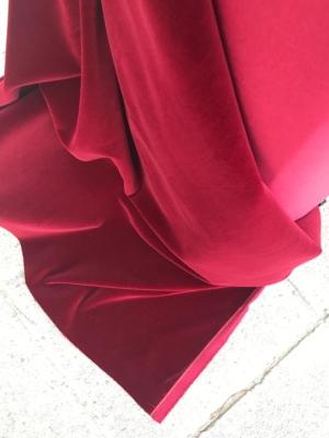 Burgundy Red cotton velvet fabric, premium quality by Niedick 150cm wide velvet coating
