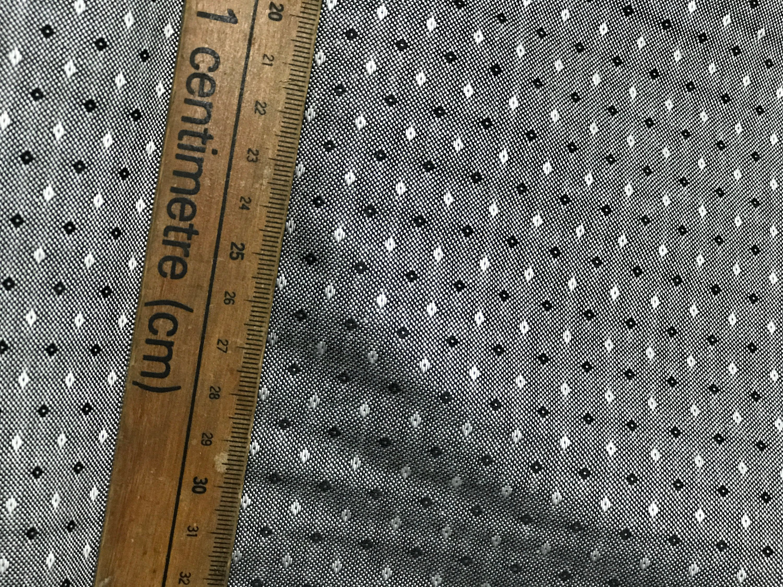 black on white chambray fabric