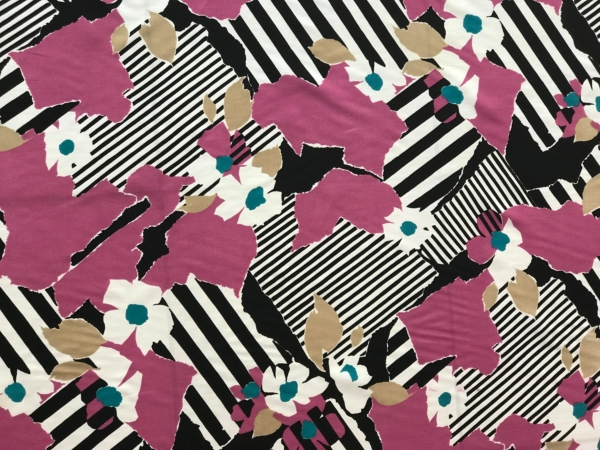 polyester crepe de chin print fabric flowers on abstract background purple black white multicolour 140cm wide