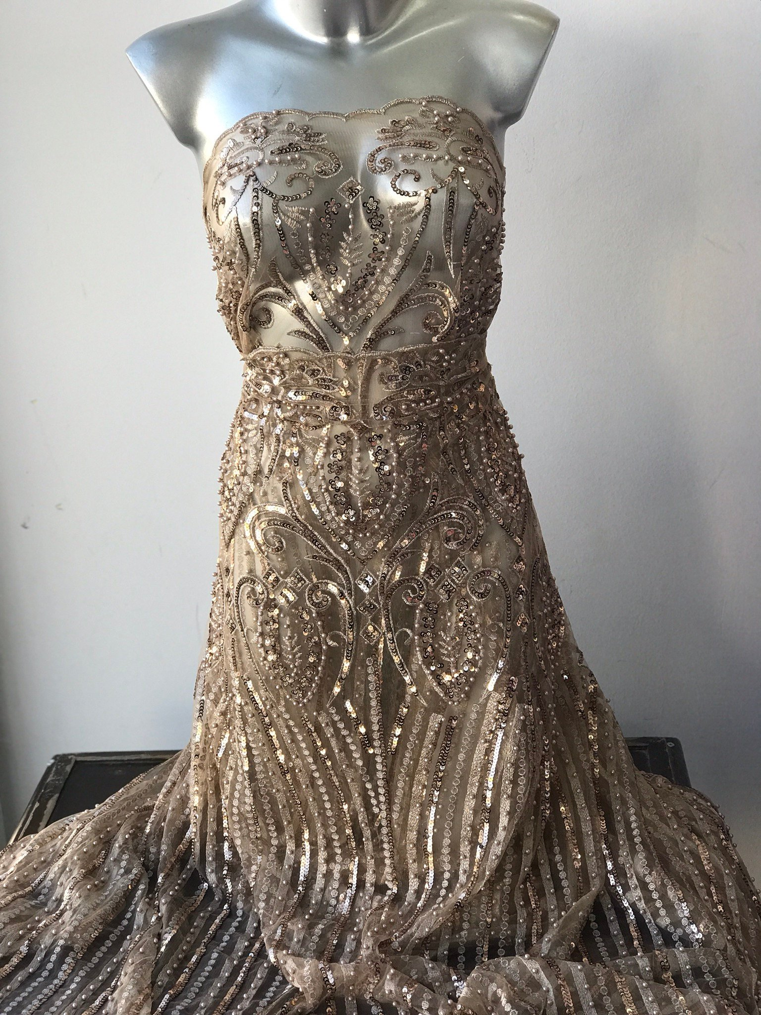 Gold beaded lace fabric mother of bride baroque damask design, elegant antique gold lace