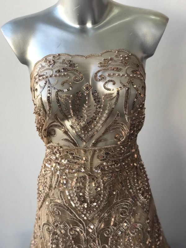 Rose Gold beaded lace fabric