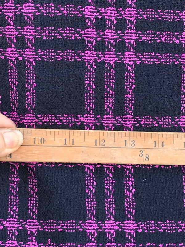 large check wool fabric, Tartan, Prince of Wales, pink on blue, Dormeuil, pure wool, suiting coating pure wool