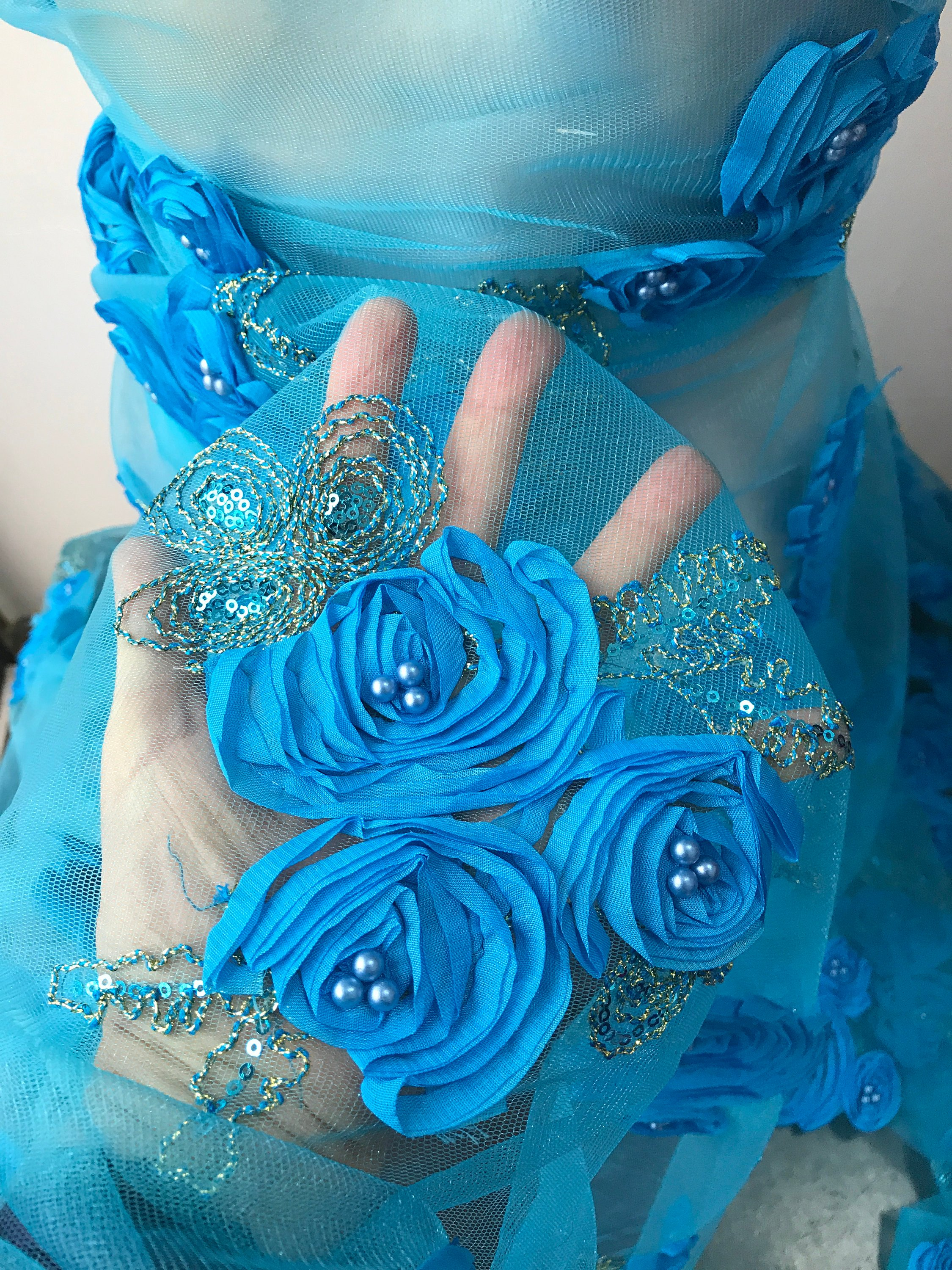 Blue lace fabric 3D roses flowers embroidered sequins pearls scallop edge formal evening prom bridal