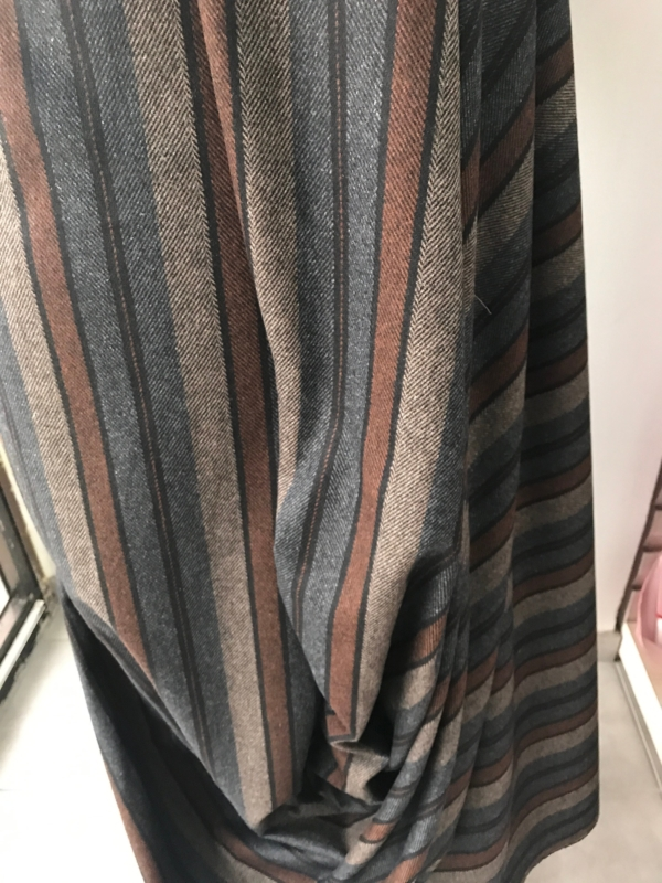 Grey brown stripe suiting fabric winter fabric wool mix wide stripes herring bone weave