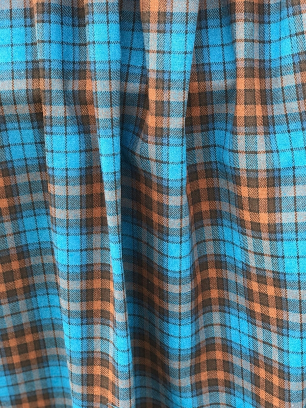 blue on brown tartan check fabric, acrylic, 150cm 60 inches wide suiting, pants skirt fabric, teal blue on brown