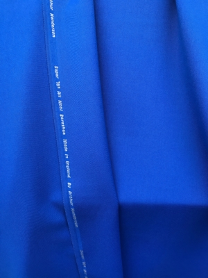 Blue Wool Venetian suiting super 70s Barathea  medium weight suiting fabric 100% wool made in England