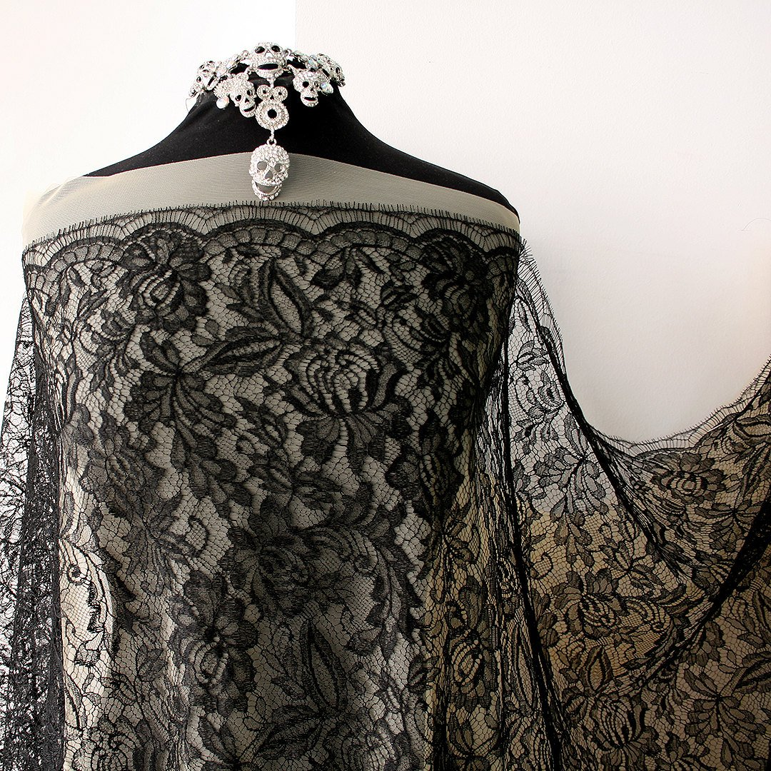 Black lace fabric, French Lace, floral Solstiss black lace bridal Gothic scallop edging with eyelash cocktail dress Burlesque, 95cm wide