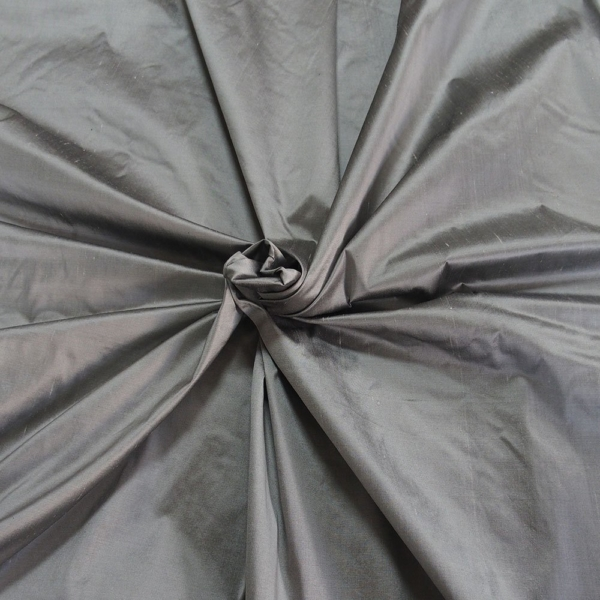 "Medium grey pewter 100% dupioni silk fabric yardage By the Yard 54"" wide raw silk Soie Sauvage"