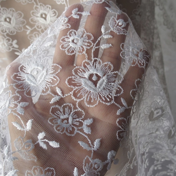 Ivory off white bridal lace fabric Tulle Netting floral lace Embroidered Fabric veiling scallop edging both sides  120cm 45 inches wide