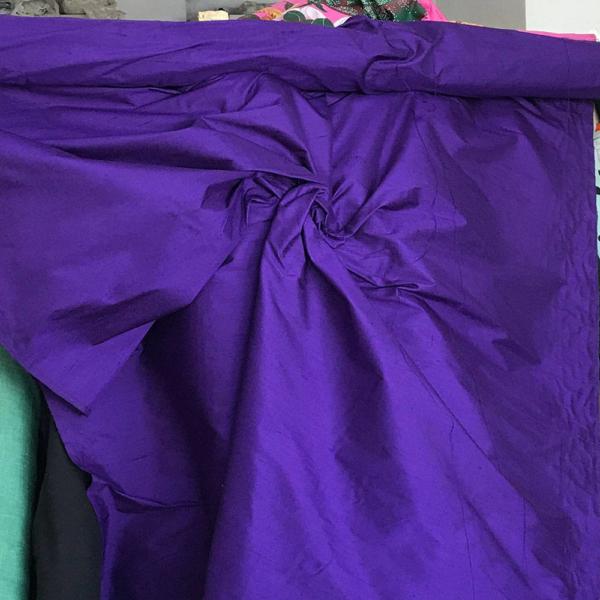 "Purple 100% dupioni silk fabric yardage By the Yard 120cm 45"" wide raw silk Soie Sauvage purple dupion silk"