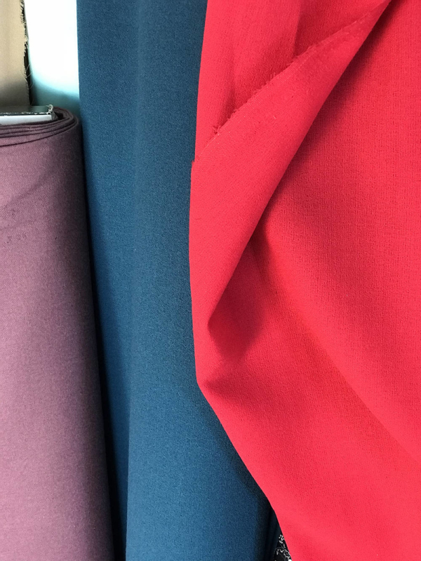 red crepe fabric polyester wool made in UK skirt dress suit wool georgette pebble crepe