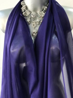Silk chiffon fabric blue with purple tone semi opaque 140cm wide
