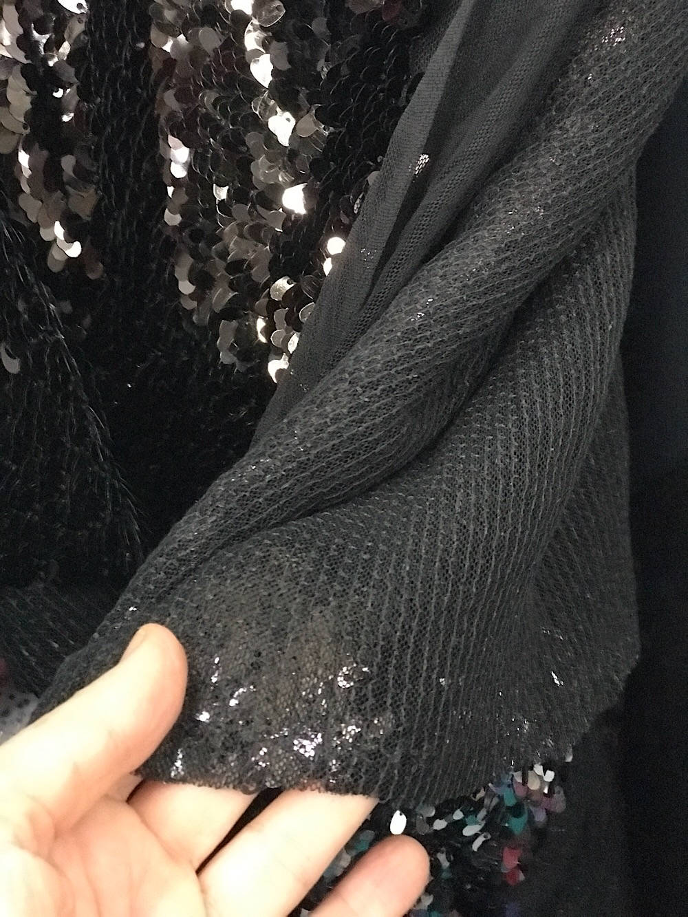 Sequins fabric gold pewter black evening formal dance wear