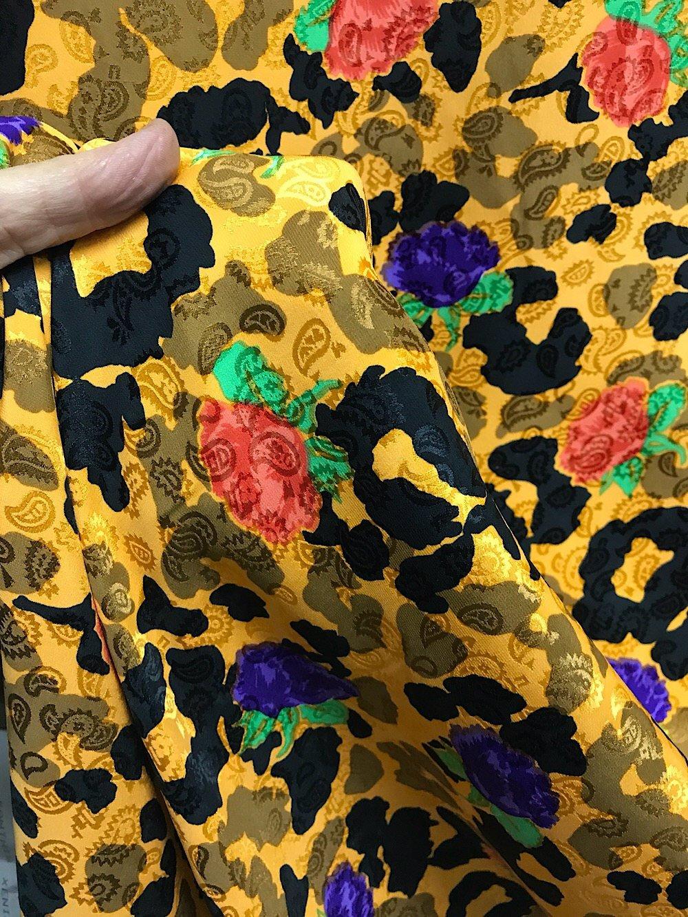 silk satin fabric abstract floral animal print for dress kaftan Kimono skirt blouse sewing dressmaking multi color print 120cm