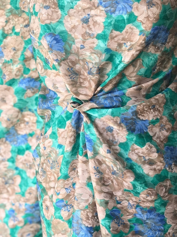 polyester print fabric jacquard base floral green  beige 140cm wide