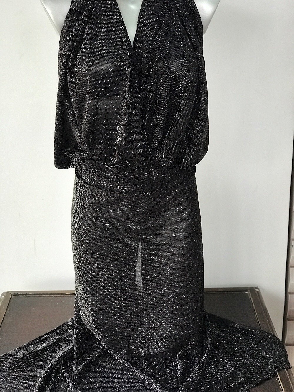 Silver on black metallic thread lurex knitted jersey fabric 150cm wide 2 way stretch bridal clothing Festive season Christmas decotation