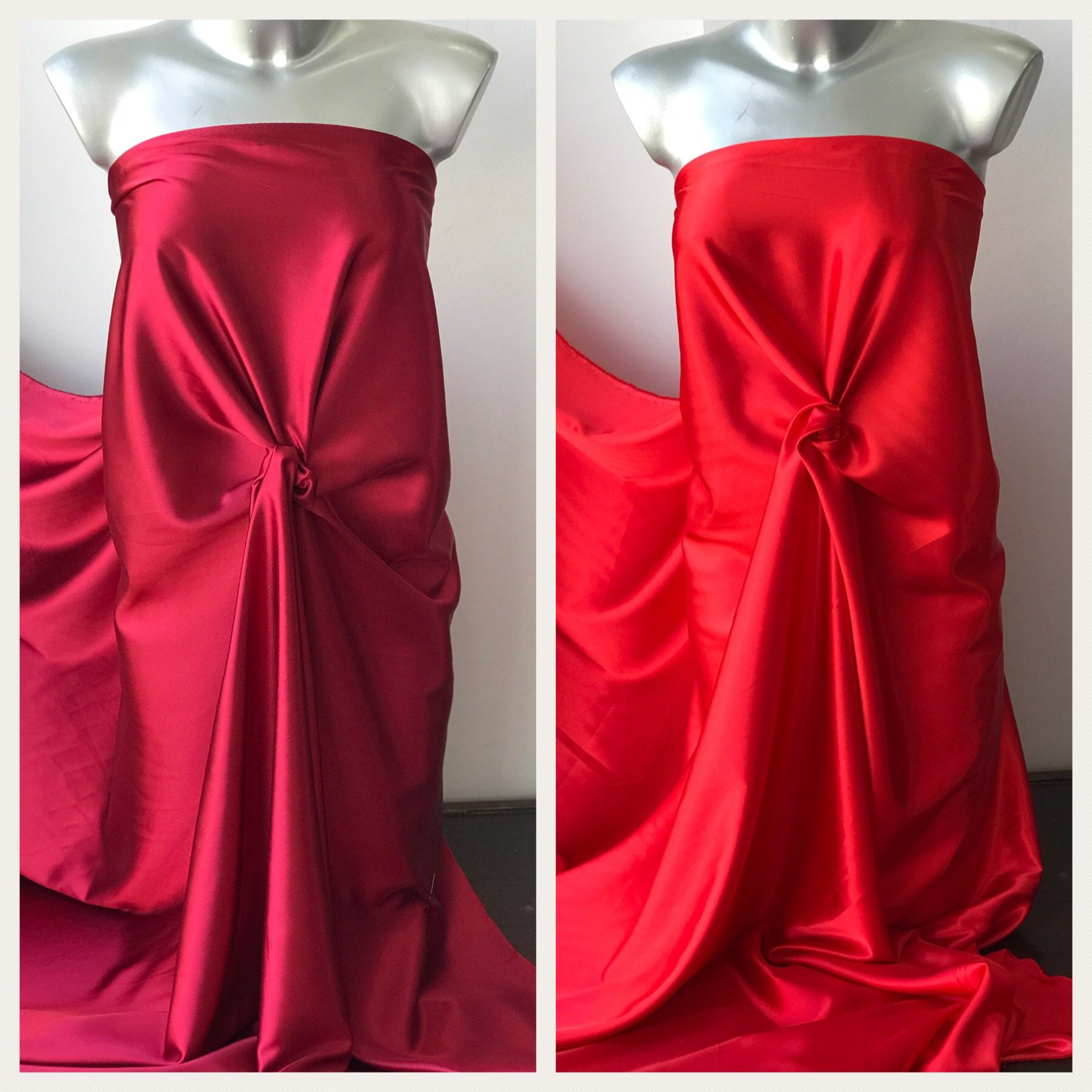 red satin fabric polyester spandex 2 way stretch lining under lace lingerie colour options 150cm wide