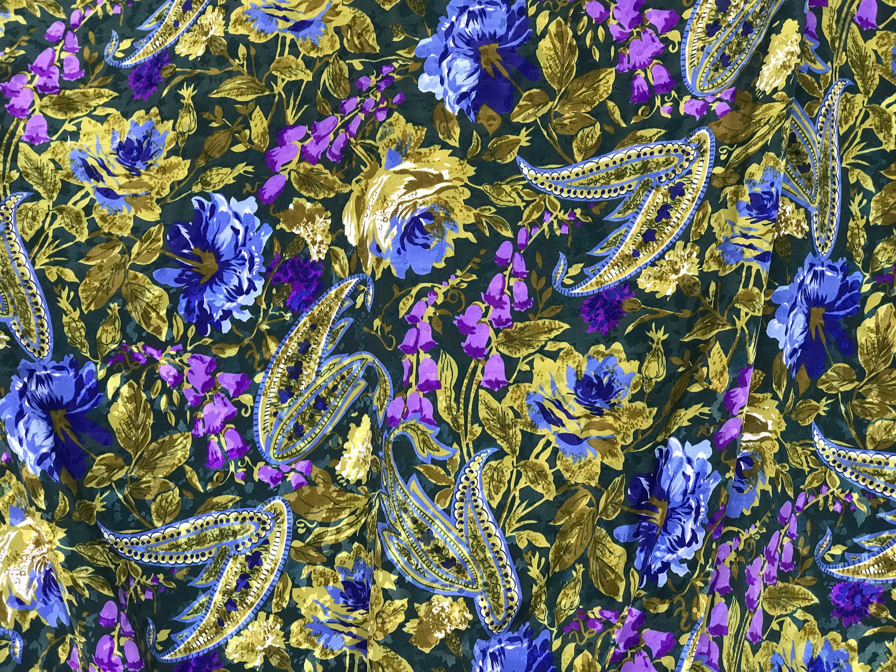 polyester print fabric jacquard base floral purple green 140cm wide