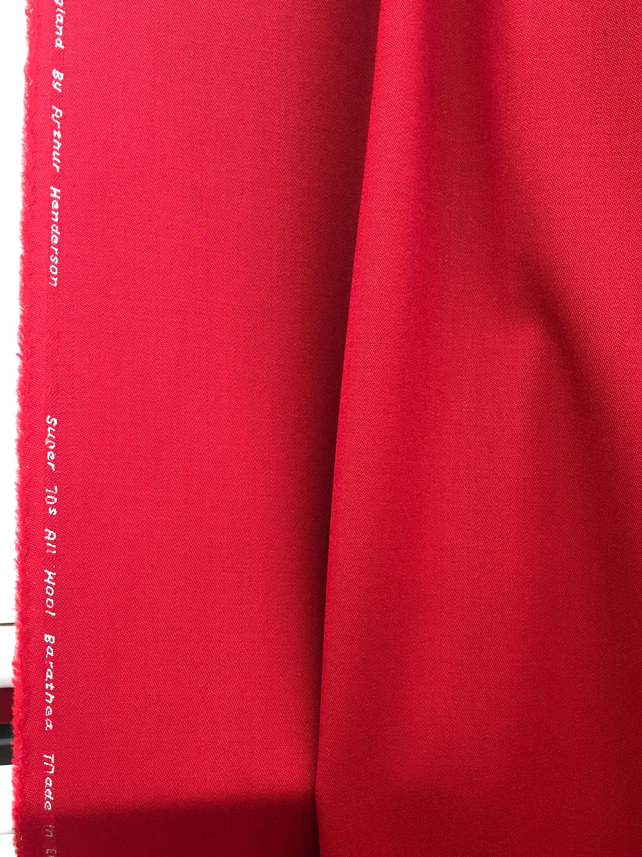 Red Wool Venetian suiting super 70s Barathea  medium weight suiting fabric 100% wool made in England