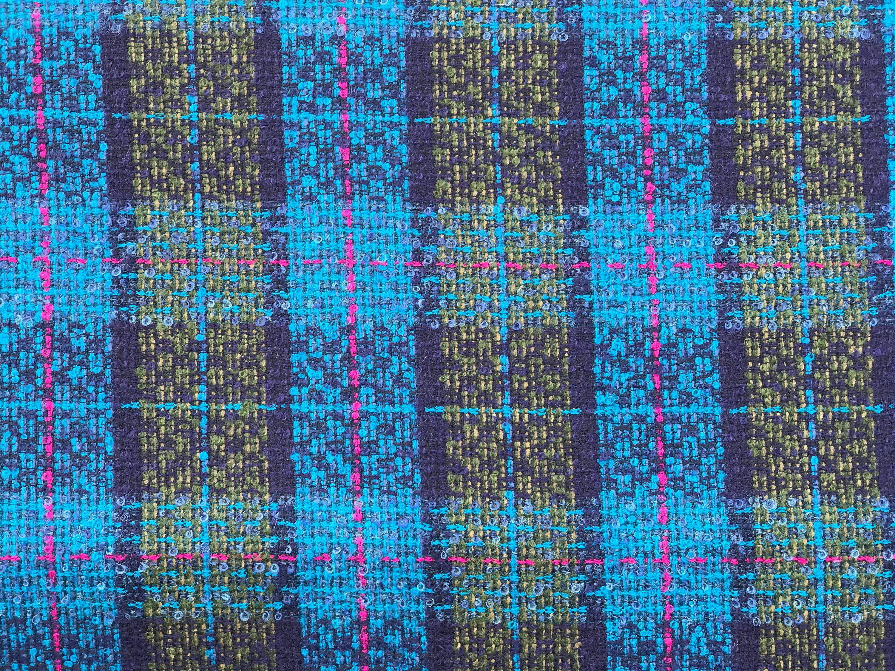 Teal blue boucle tweed fancy wool check fabric pure wool high end suiting coat 150cm wide