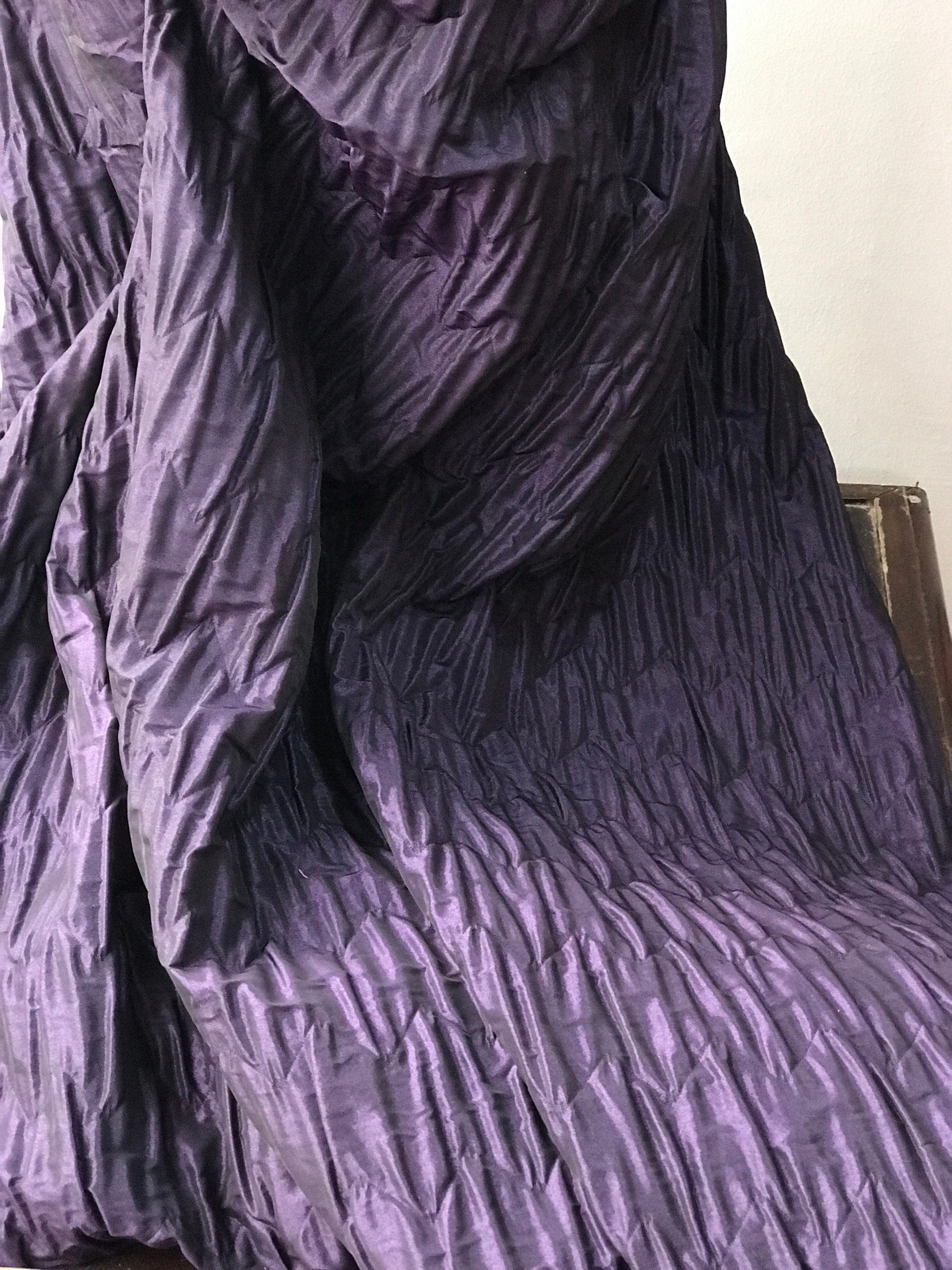 ruched taffeta fabric with backing, brocade, royal purple, black, anthracite, bridal, premium quality 140cm wide
