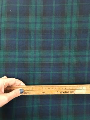 """Black Watch tartan fabric, poly viscose tartan, green blue black tartan fabric kilt plaid skirt sewing dressmaking 150cm 60"""""""