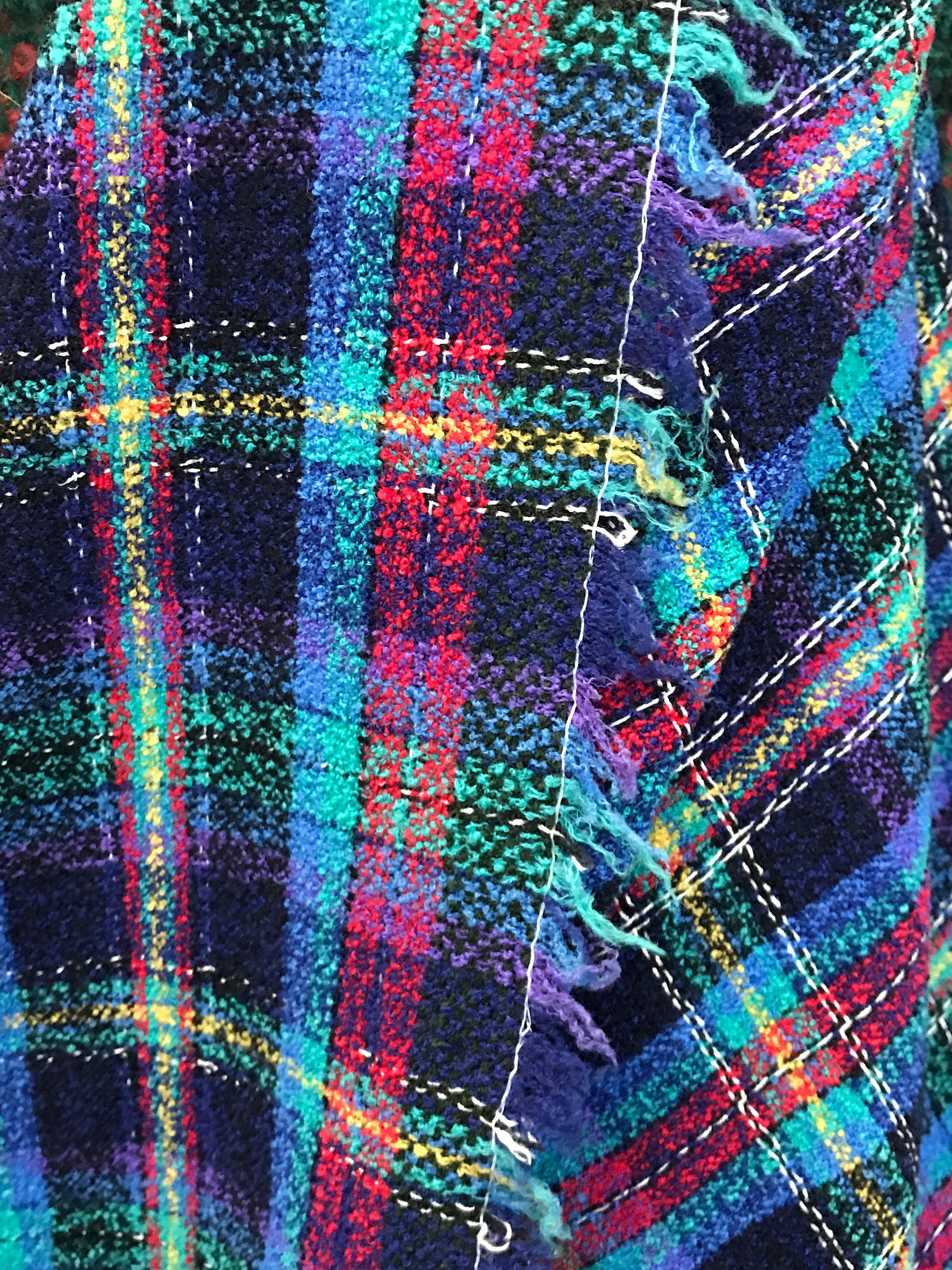 tweed boucle check fabric Red blue pure wool check fabric kilt plaid skirt bustle sewing dressmaking shawl stole scarf 150cm 60""
