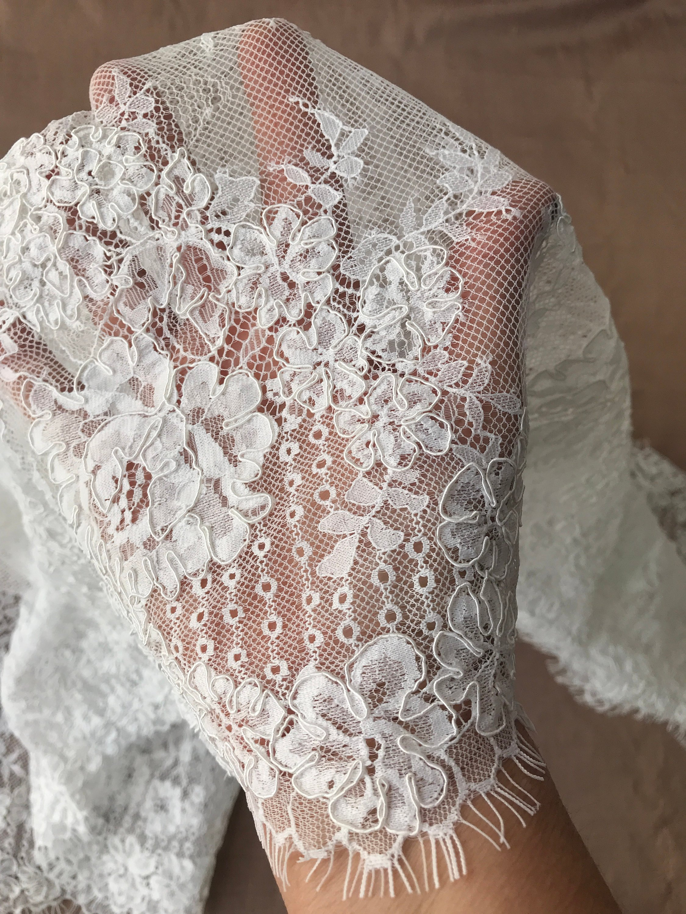 off white ivory bridal lace corded border lace scallop edge both sides with eyelashes veiling 45cm wide