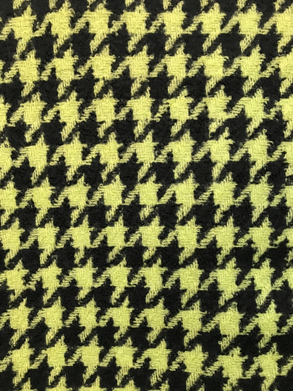 wool boucle tweed fabric large hounds tooth  acid yellow on black coating overcoating high end 150cm 60 inches width
