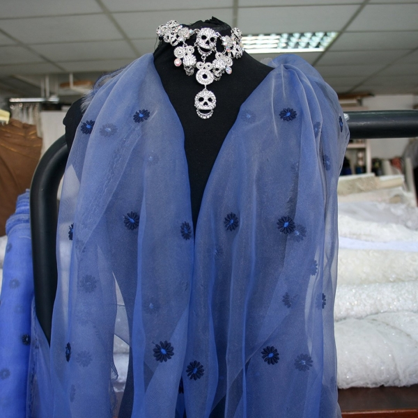 shiny  blue organza fabric two tone royal blue with daisy shaped embroidery bridal prom etherial
