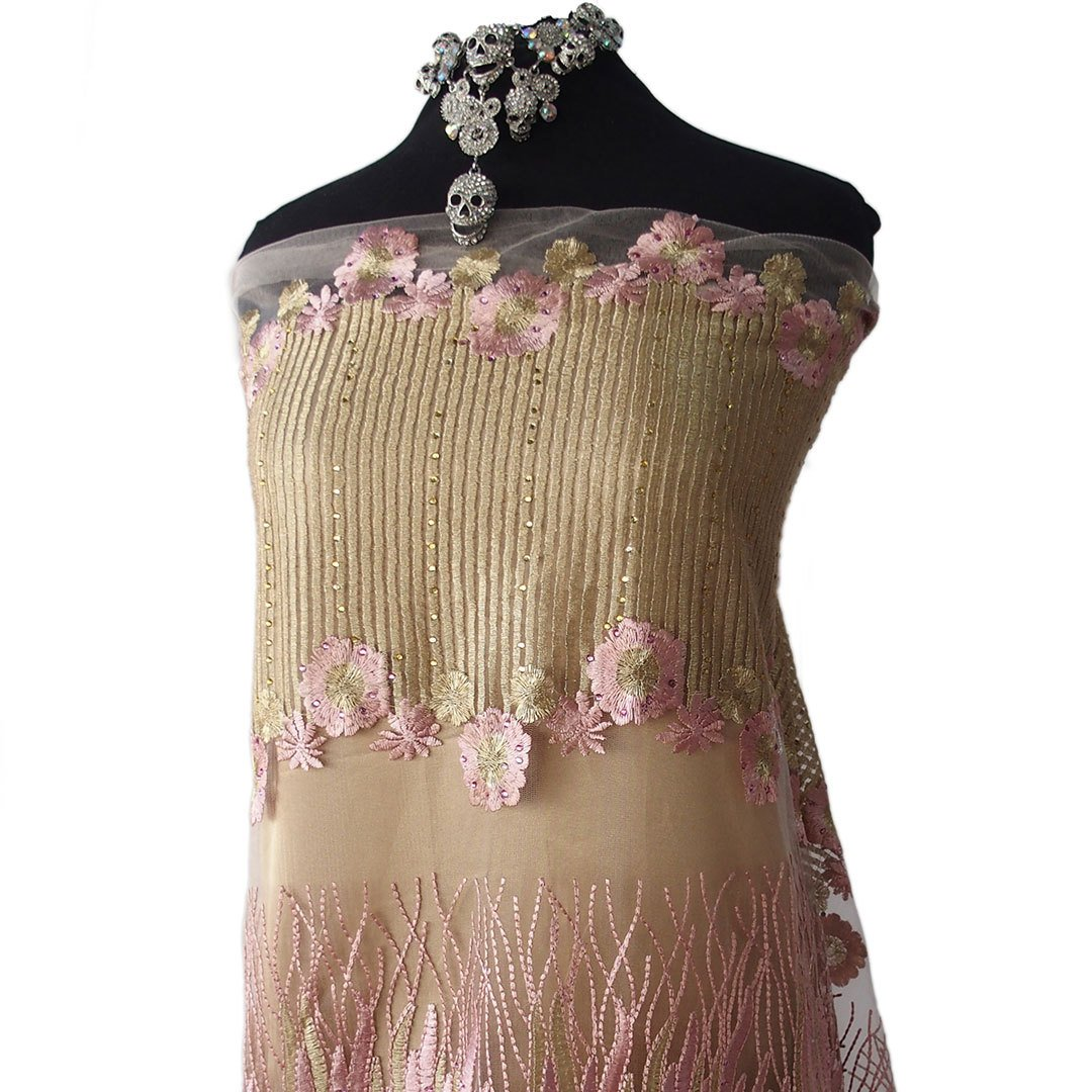 soft pink gold tulle lace fabric embroidered metallic thread stones sequins evening formal bridal red carpet dress embroidered wide border