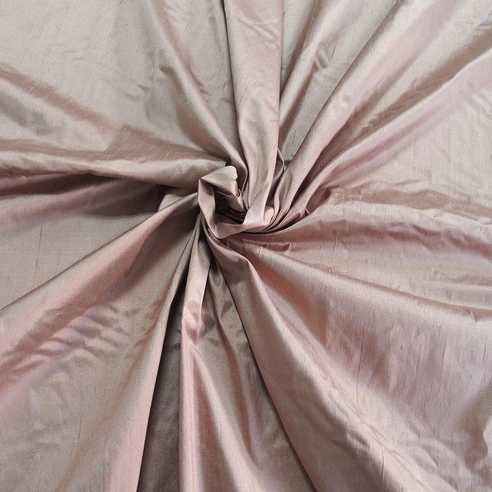 Taupe light brown Dupioni silk