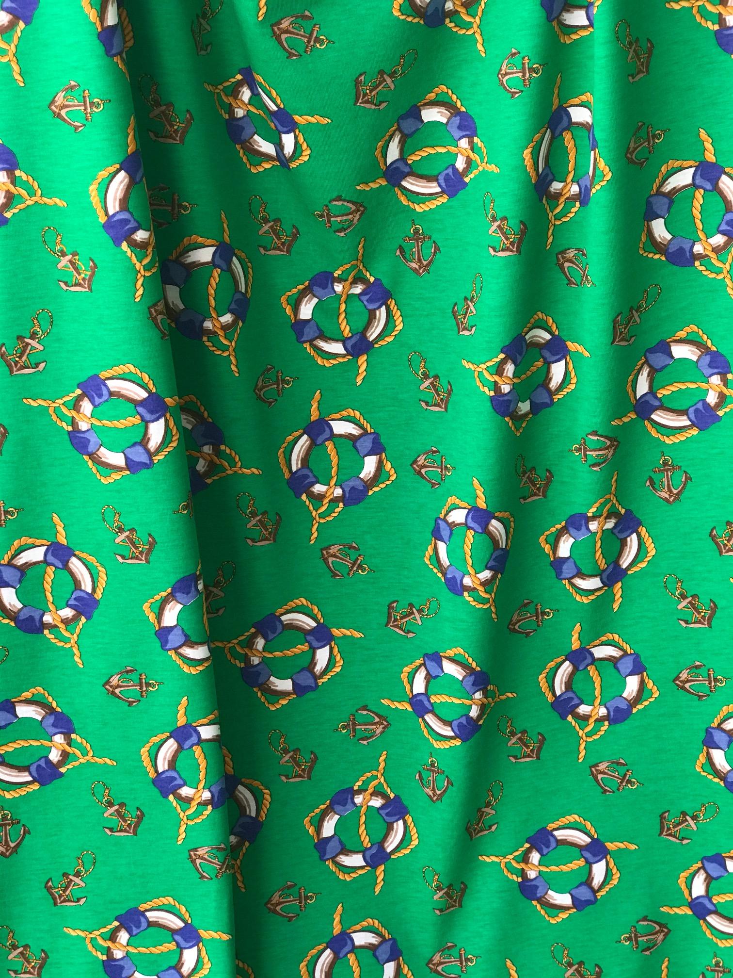 cotton jersey fabric marine design