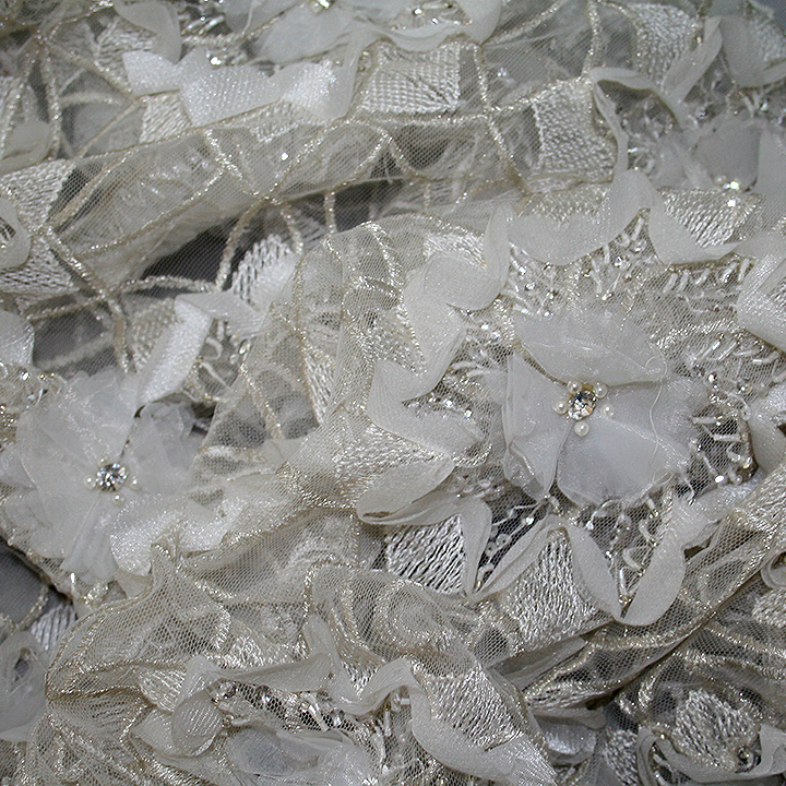Bridal Lace Fabric Bridal Beaded Tulle 3d Flowers And Stones In Antique Gold Bodikian Textiles