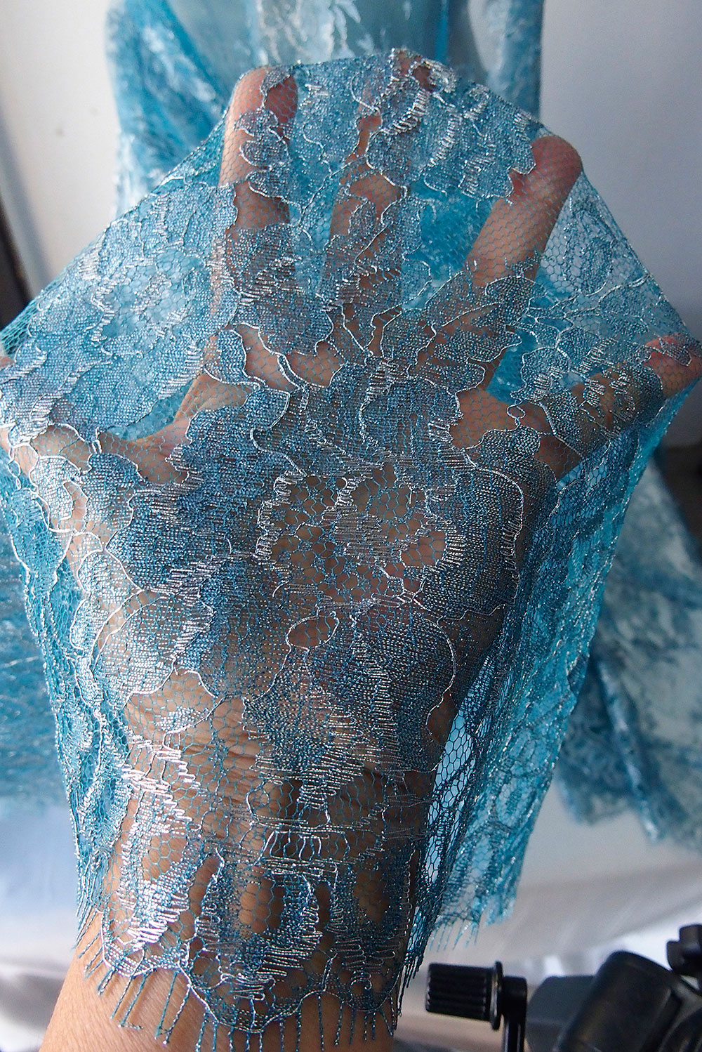 Teal Blue Petrol Lace Fabric French Lace Solstiss